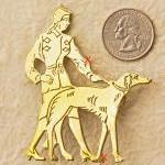 Art Deco Lady Walking The Dog Brooc..