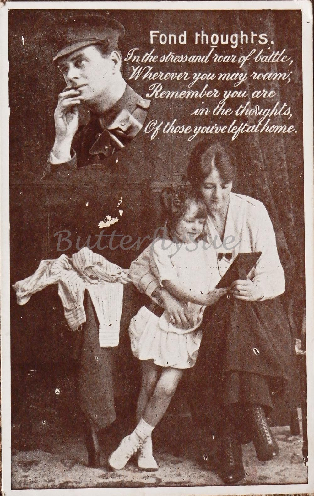 WW1 Sentimental Printed Postcard entitled FondThoughts